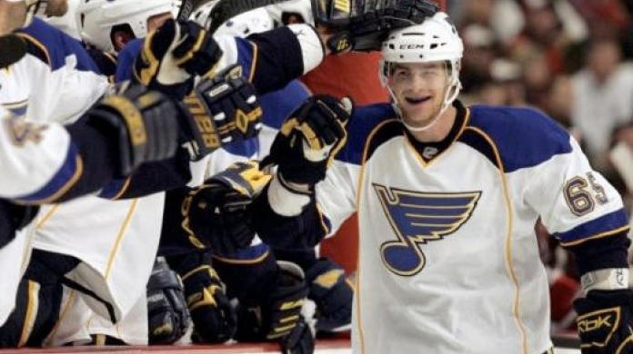 Celebrating his first NHL goal with the St.Louis Blues